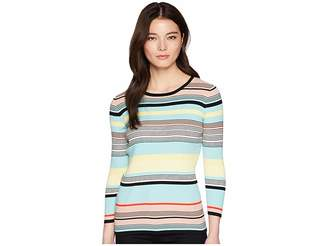 Vince Camuto Specialty Size Petite Long Sleeve Color Blocked Ribbed Sweater Women's Sweater
