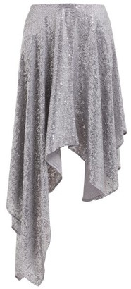 Ashish Sequinned Asymmetric Skirt - Womens - Silver