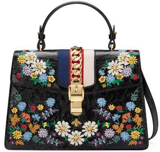 Gucci Medium Sylvie Floral Embroidered Top Handle Leather Shoulder Bag