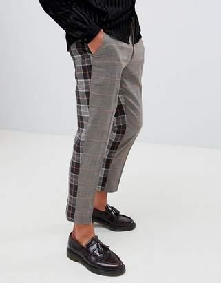Asos Design DESIGN skinny crop smart trouser in brown check