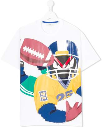 Fendi TEEN Fendirumi Rugby print T-shirt