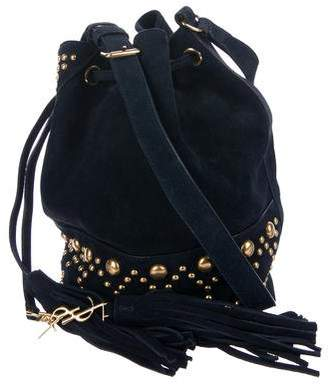 Saint Laurent Embellished Suede Bucket Bag