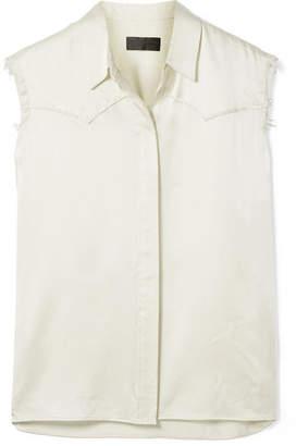 Nili Lotan Brayden Frayed Silk-charmeuse Shirt - Cream