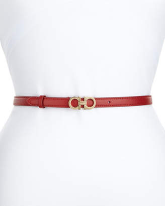 Salvatore Ferragamo Thin Leather Gancini Belt
