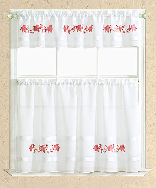Spice Spring Leaf Kitchen Curtain Set