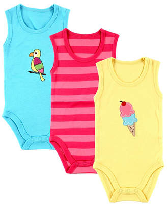 Baby Vision Hudson Baby Sleeveless Bodysuits, 3-Pack, Pink Ice Cream