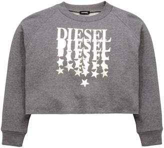 Diesel Girls Logo Boxy Crop Sweatshirt