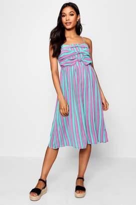 boohoo Triple Knot Striped Cami Skater Dress