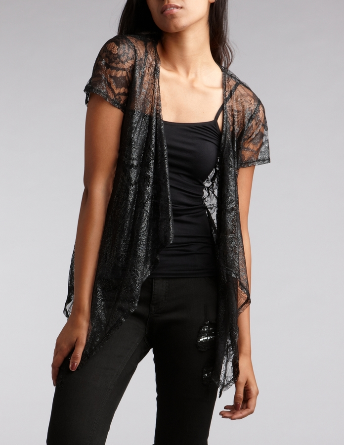 Short Sleeve Open Front Lace Top
