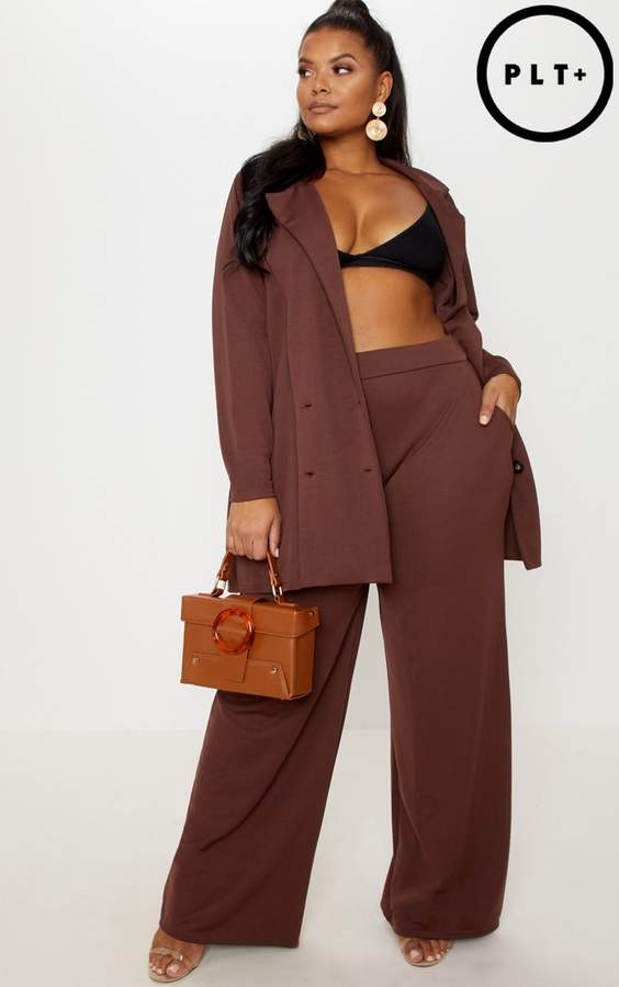 Plus Chocolate Brown Wide Leg Trouser