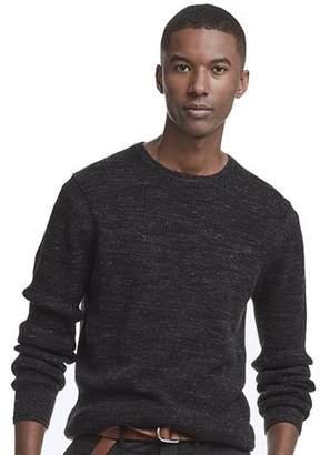 Todd Snyder Merino Waffle Crewneck Sweater in Black Marl