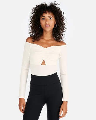 Express Petite Ruched Off The Shoulder Bodysuit