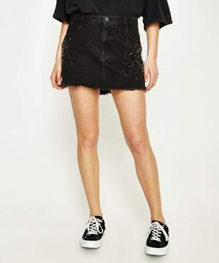 Free People Shine Bright Shine Far Mini Black Skirt