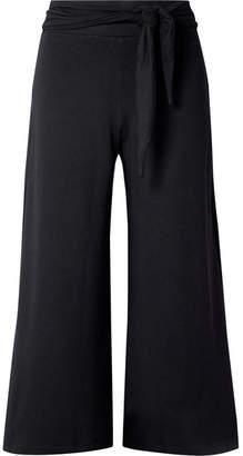 calé - Jolie Tie-front Stretch-knit Culottes - Black