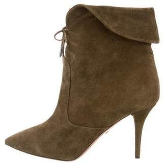 Aquazzura Suede Pointed-Toe Ankle Boots