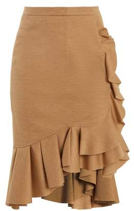 Givenchy Ruffled-trimmed wool skirt