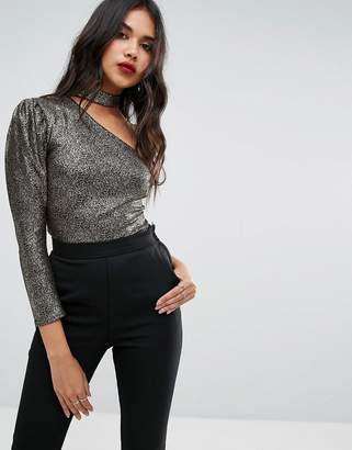 boohoo One Shoulder Metallic Body