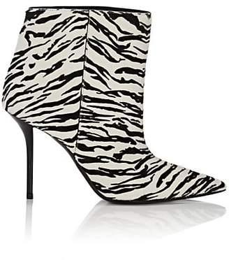 Saint Laurent Women's Pierre Zebra-Print Calf Hair Ankle Booties - Wht.&blk.