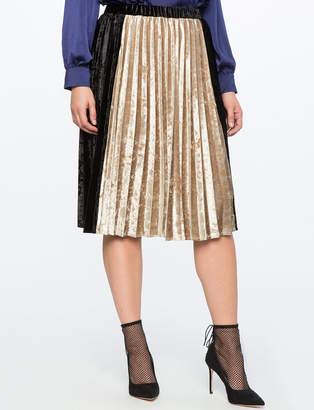 Pleated Velvet Midi Skirt with Color Block Detail