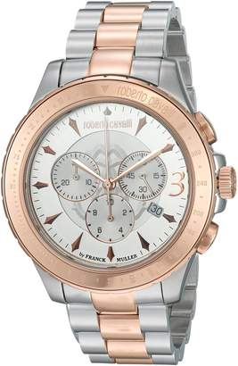 Roberto Cavalli by Franck Muller (PU5E5) Men's 'ROUND Chrono' Quartz Stainless Steel Casual Watch, Color:Two Tone (Model: RV1G014M0096)