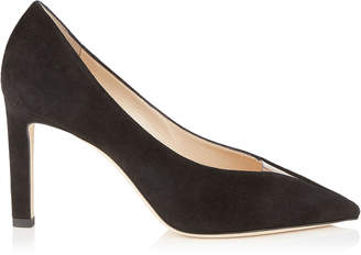 Jimmy Choo BAKER 85 Black Suede Pointed Toe Pumps with Plexi Insert