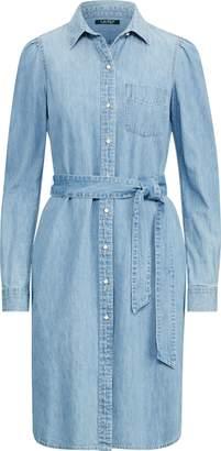 Ralph Lauren Puff-Sleeve Denim Shirtdress