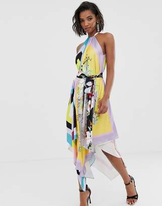 Asos Edition EDITION halter belted midi dress in mixed scarf print