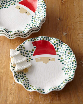 Coton Colors Ho Ho Santa Ruffle Christmas Plates, Set of 4
