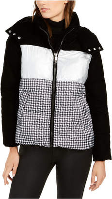 Calvin Klein Mixed-Print Hooded Puffer Coat