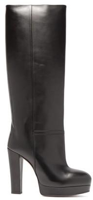 Gucci Britney Platform Leather Knee Boots - Womens - Black