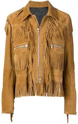 Diesel Black Gold split suede jacket with fringes
