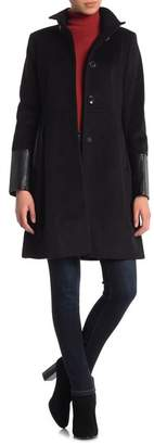 Via Spiga Stand Collar Faux Leather Trim Jacket
