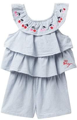 Betsey Johnson Embroidered Stripe Chambray Romper (Toddler Girls)\n