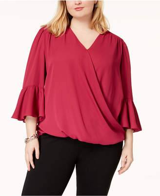 INC International Concepts I.n.c. Plus Size Bell-Sleeve High-Low Blouse, Created for Macy's