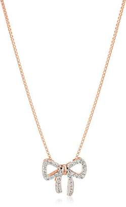 14k Gold Plated Sterling Silver Created White Sapphire Bow Pendant Necklace