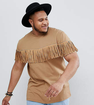 Asos DESIGN festival Plus relaxed longline t-shirt with studded fringing in tan