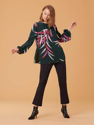 Diane von Furstenberg Long-Sleeve Keyhole Silk Blouse