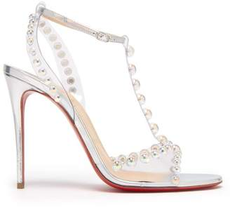 Christian Louboutin Faridaravie 100 Bubble Bead Leather Sandals - Womens - White Silver