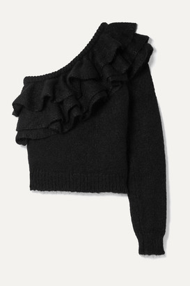 Philosophy di Lorenzo Serafini One-sleeve Ruffled Knitted Sweater - Black
