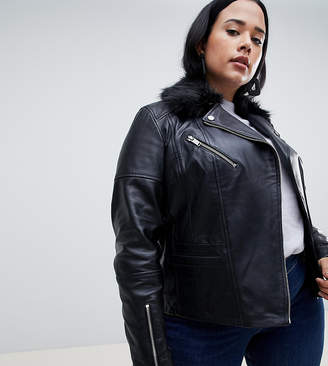 Urban Code Urbancode Curve leather jacket with faux fur collar