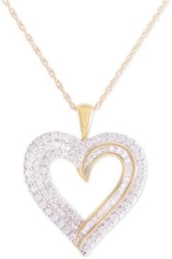 8bf29f065f3 Macy's Diamond Heart Pendant Necklace (1 ct. t.w.) in 10k Gold
