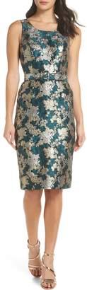 Charles Henry Belted Jacquard A-Line Dress