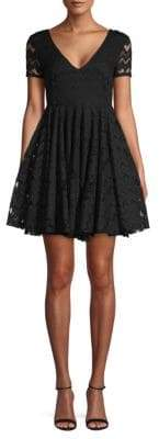 Sandro Chevron Lace Mini Dress