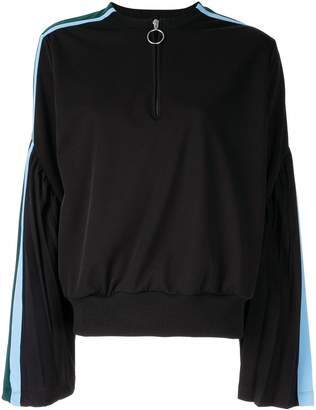 Facetasm flared sleeved henley sweatshirt