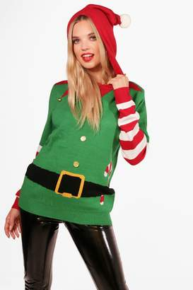 boohoo Catherine Pom Pom Hooded Elf Christmas Jumper