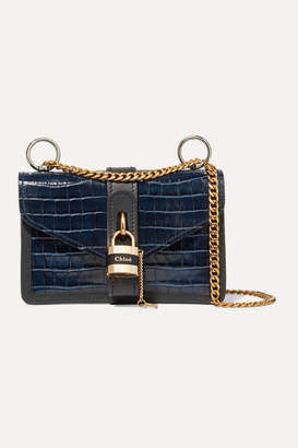 Chloé Aby Chain Croc-effect Leather Shoulder Bag - Navy