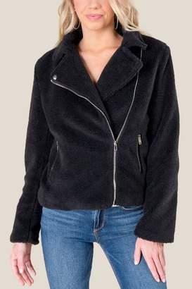 francesca's Tamara Sherpa Lined Moto Jacket - Black