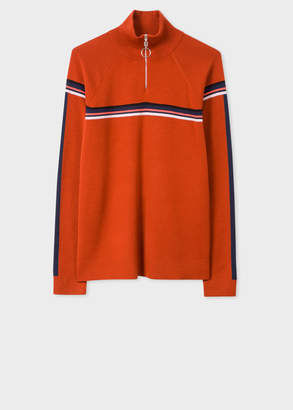 Paul Smith Women's Rust Funnel Neck Wool Half-Zip Sweater