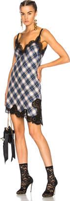 Alberta Ferretti Lace Trim Plaid Slip Dress