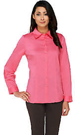 Susan Graver Stretch Woven Long Sleeve ButtonFront Shirt